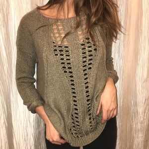 Nordstrom Olive Green Sweater with Cutout Detail